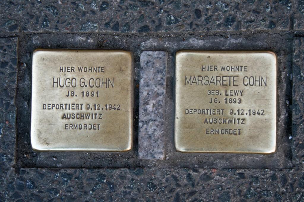 Stolpersteine 55: In memory of Hugo G Cohn and Margarete Cohn (outside Karstadt Sports - Joachimstaler Strasse 6-5) in Berlin