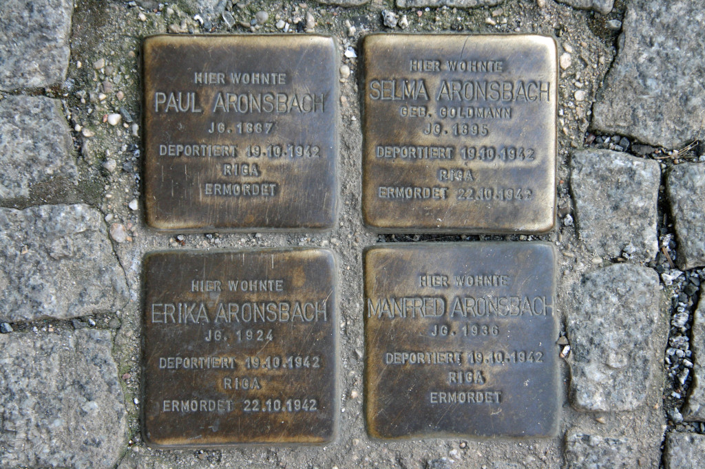 Stolpersteine 57: In memory of Paul Aronsbach, Selma Aronsbach, Erika Aronsbach and Manfred Aronsbach (outside Hotel Hackescher Markt - Grosse Präsidentstrasse 8) in Berlin