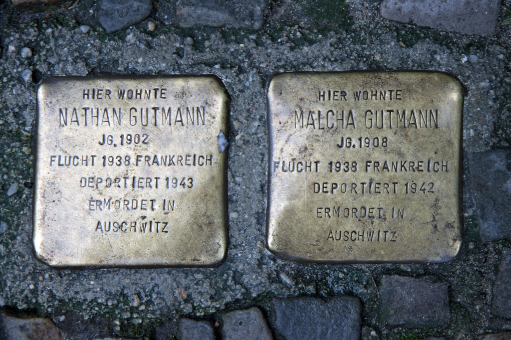 Stolpersteine 6: In memory of Nathan Gutmann and Malcha Gutmann (Raumerstrasse 21) in Berlin