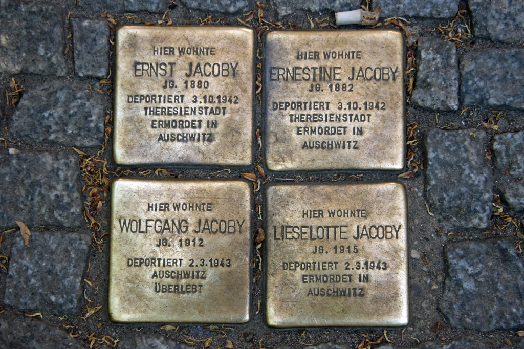 Stolpersteine 68: In memory of Ernst Jacoby, Ernestine Jacoby, Wolfgang Jacoby and Lieselotte Jacoby (Oranienburger Strasse 46-47)