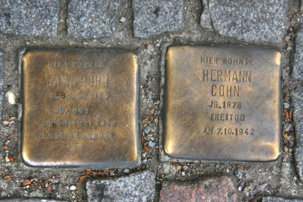 Stolpersteine 76: In memory of Emma Cohn and Hermann Cohn (Kreuzbergstrasse 2-3) in Berlin