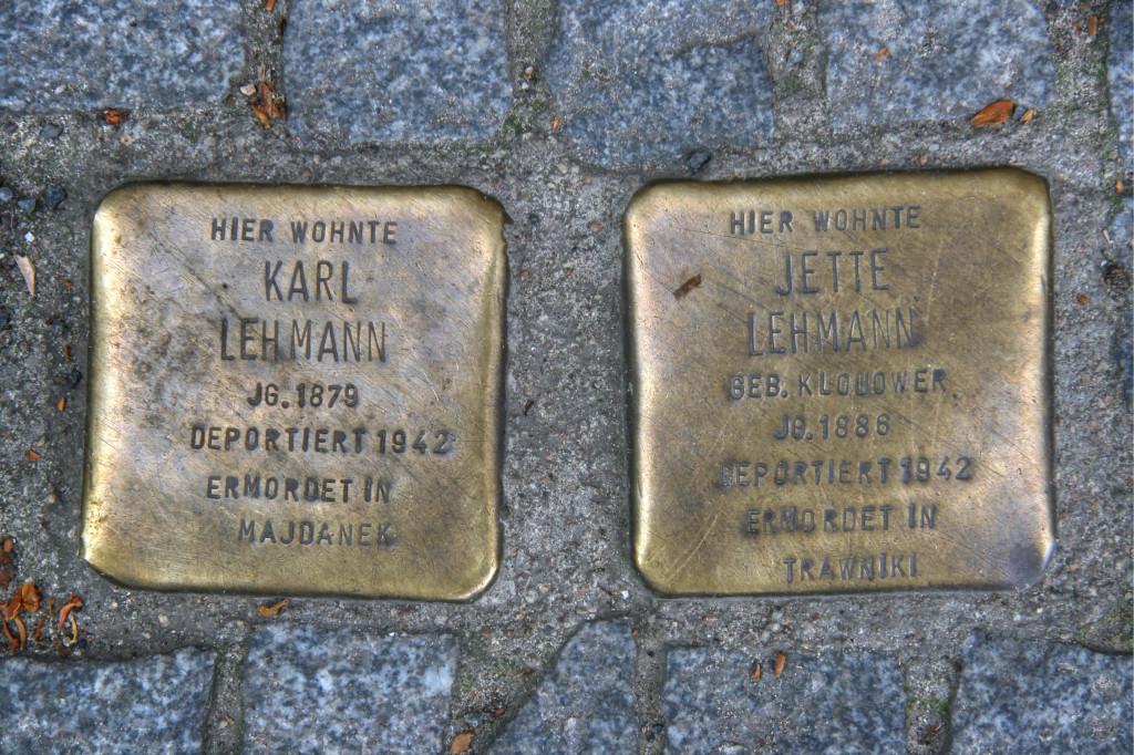 Stolpersteine 77: In memory of Karl Lehmann and Jette Lehmann Grossbeerenstr 56a) in Berlin