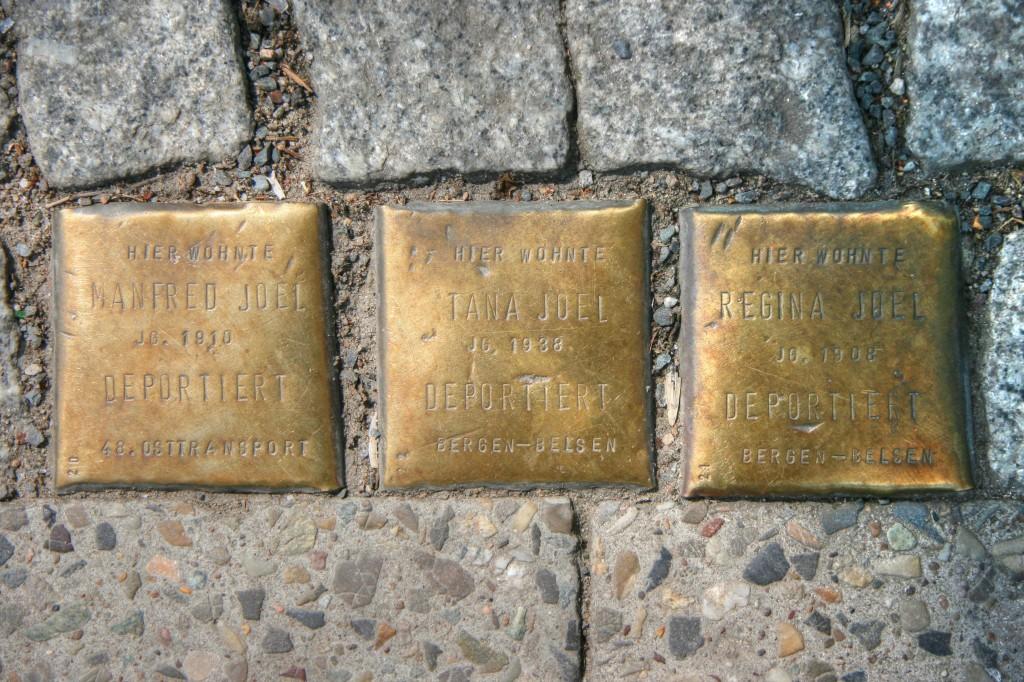 Stolpersteine 79: In memory of Manfred Joel, Tana Joel and Regina Joel (Corner of Oranienstrasse and Prinzenstrasse) in Berlin