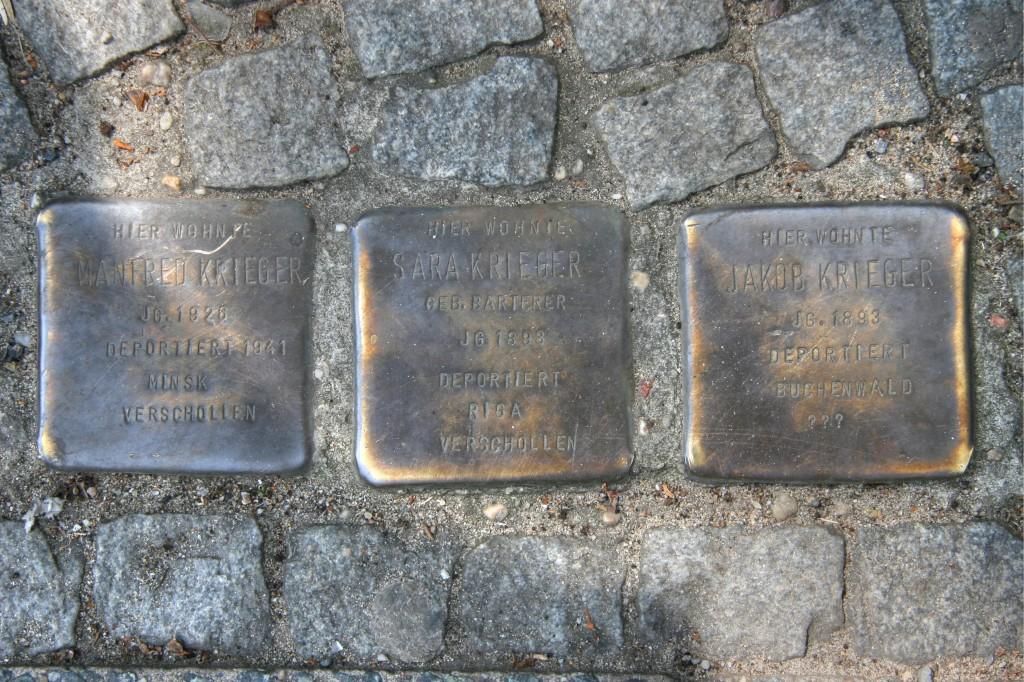 Stolpersteine 80: In memory of Manfred Krieger, Sara Krieger and Jakob Krieger (Corner of Oranienstrasse and Prinzenstrasse) in Berlin