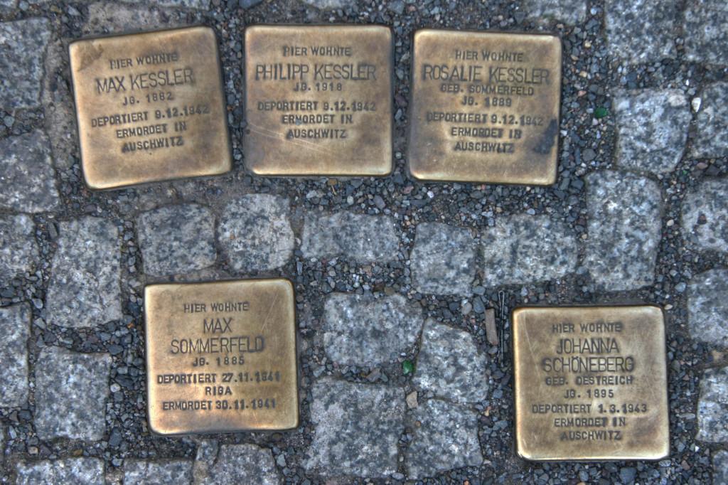 Stolpersteine 87: In memory of Max Kessler, Philipp Kessler, Rosalie Kessler, Max Sommerfeld and Johanna Schönberg (Friedrichstrasse 106) in Berlin