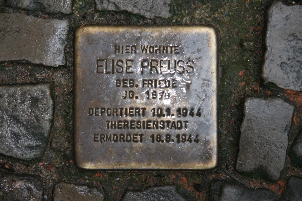 Stolpersteine 9: In memory of Elise Preuss (Kuglerstrasse 20) in Berlin