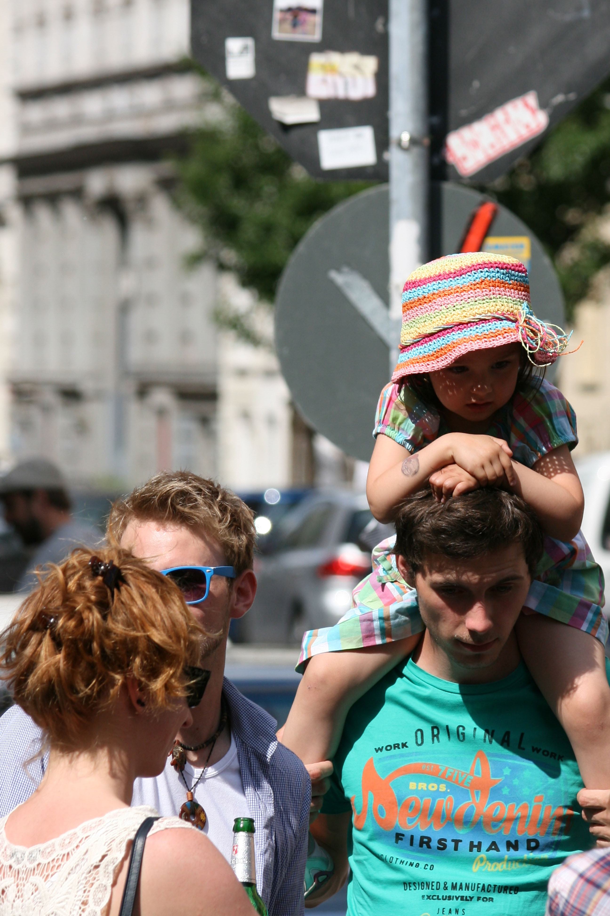 Thanks Daddy - a child gets a better view at Karneval der Kulturen (Carnival of Cultures) in Berlin