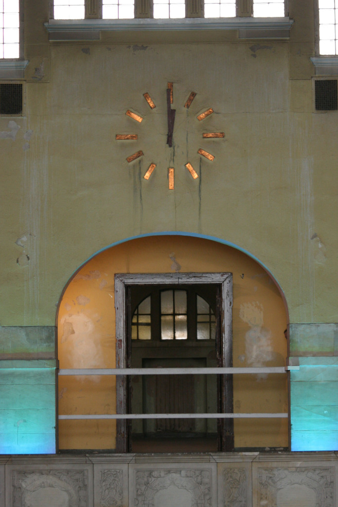 The clock above the Swimming Pool in the Main Hall at Stadtbad Prenzlauer Berg in Berlin