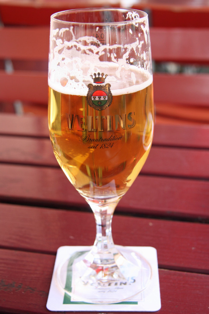 A glass of Veltins Pilsner at Aapka Indisches (Indian) Restaurant in Prenzlauer Berg, Berlin