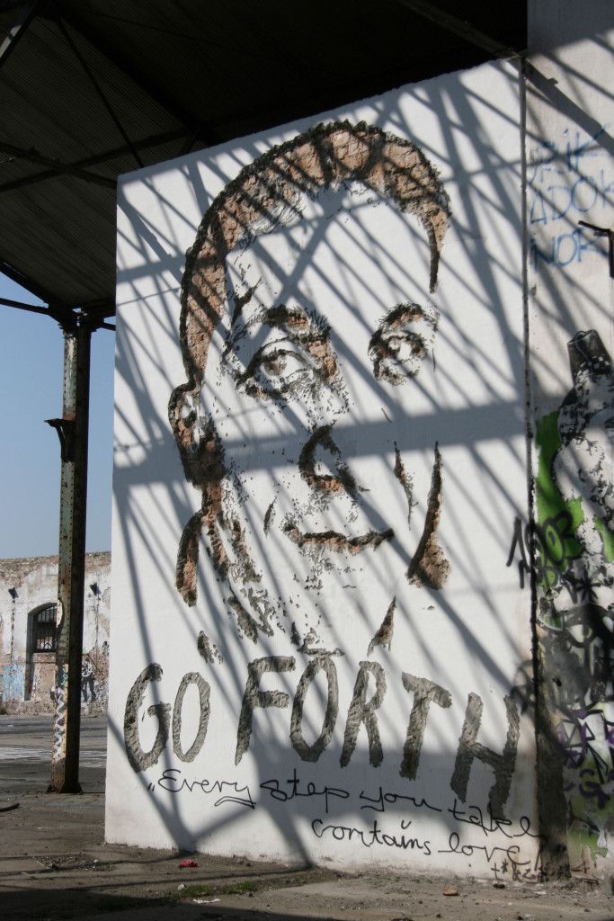Fadi Saad: Street Art by Vhils (Alexandre Farto) in Berlin for the Go Forth advertising campaign for Levi's