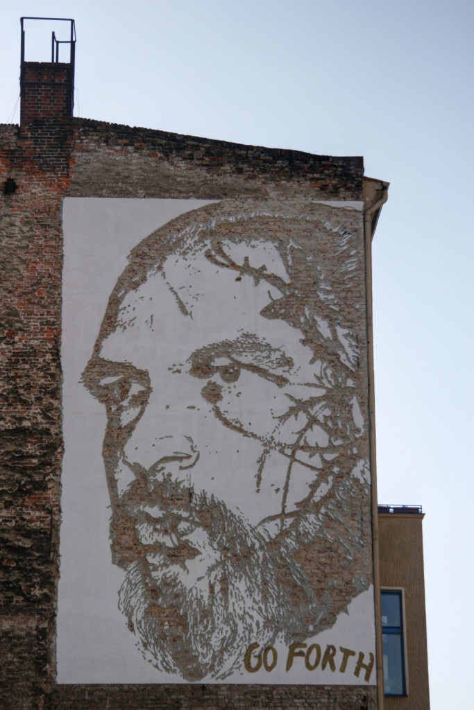 Sven Marquardt: Street Art by Vhils (Alexandre Farto) in Berlin for the Go Forth advertising campaign for Levi's
