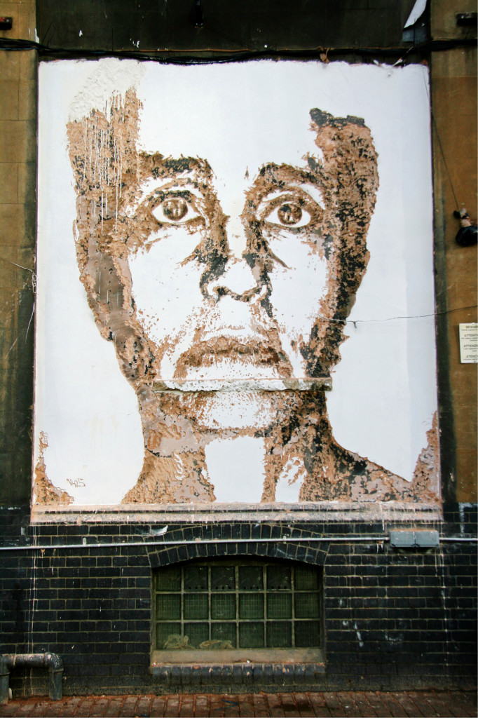 Street Art by Vhils in the Truman Brewery complex near Brick Lane