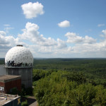 The view from the roof of the main building and a listening dome at the NSA Listening Station at Teufelsberg