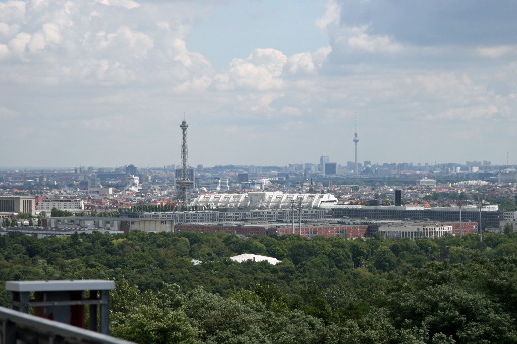 The view, including the Funkturm and Fernsehturm, from the roof of the main building at the NSA Listening Station at Teufelsberg