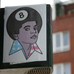 8-Ball: Sticker of Michael Jackson with an 8-Ball head - Street Art by Unknown Artist in Berlin