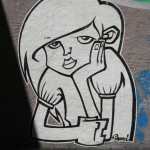 Bored Girl: Street Art by Unknown Artist in Berlin