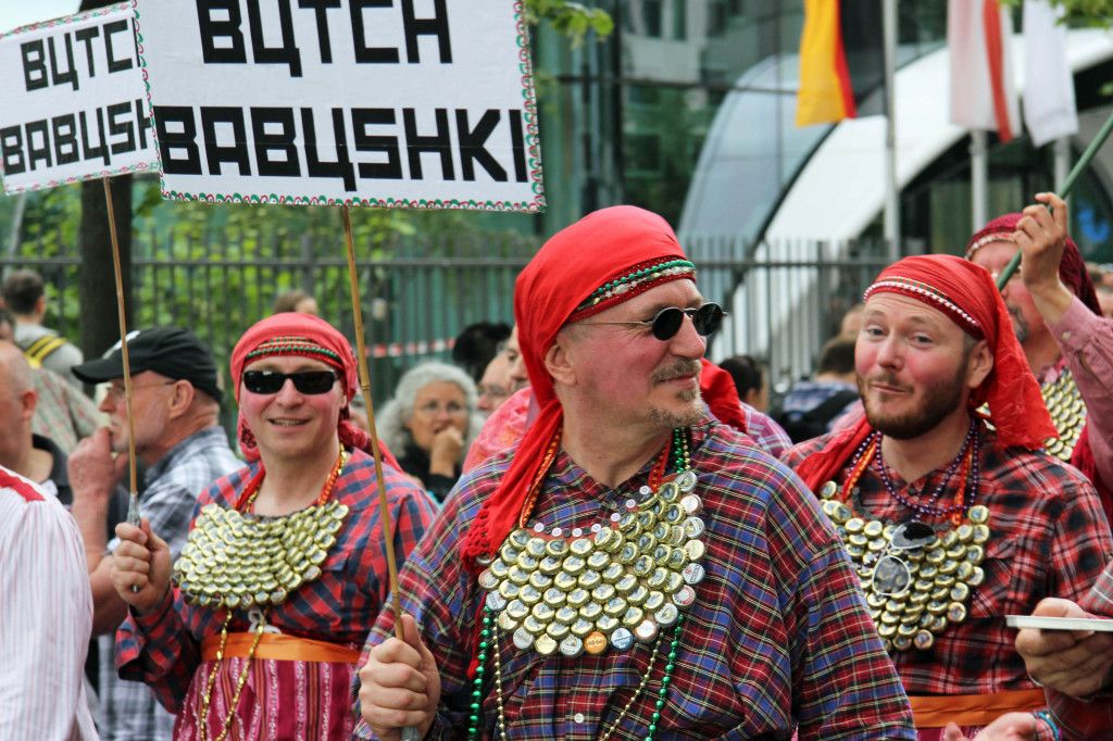 Butch Babushki: A group of men at the Christopher Street Day (CSD) Parade in Berlin dressed as Russia's entry to the Eurovision Song Contest 2012