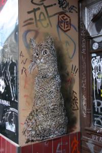 Cat In A Doorway: Street Art by C215 in Berlin