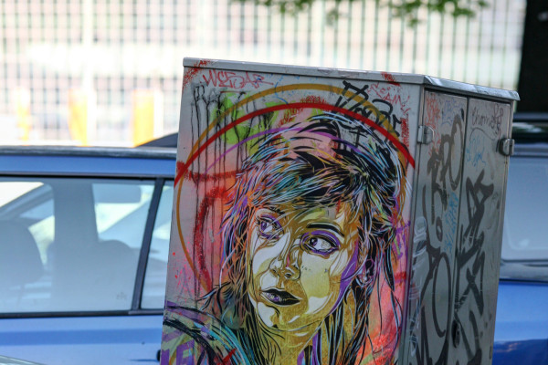 Girl With Many Colours In Her Hair: Street Art by C215 (Christian Guémy) in Berlin