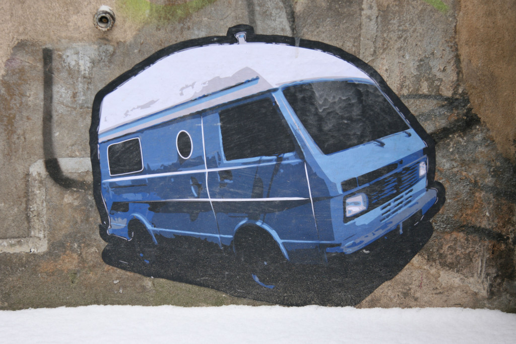 Camper Van: Street Art by Unknown Artist in Berlin in the street art courtyard at Rosenthaler Straße 39 in Berlin Mitte