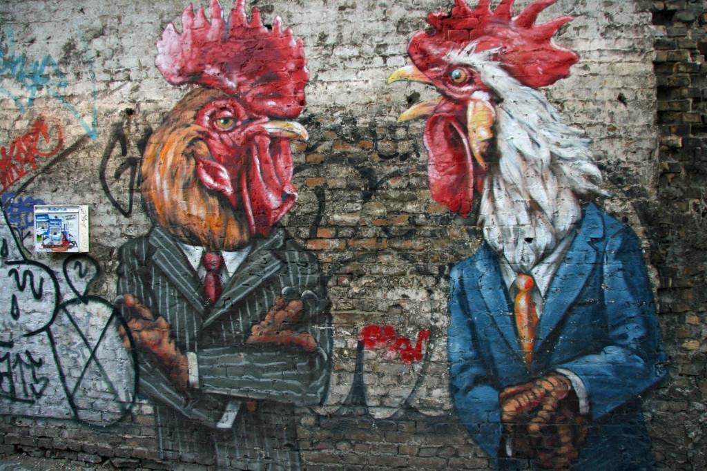 Cocks in Suits: Street Art by Unknown Artist in Berlin