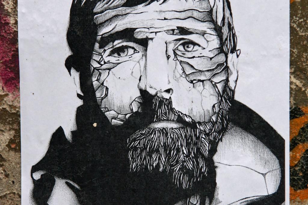 Craggy Face: Street Art by Unknown Artist in Berlin