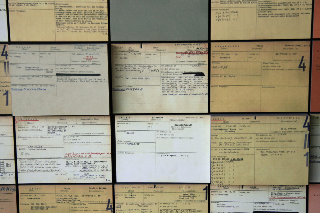 A display of index cards in the indoor exhibition shows the crimes of Police and SS and their consequences at Topographie des Terrors (Topography of Terror) in Berlin