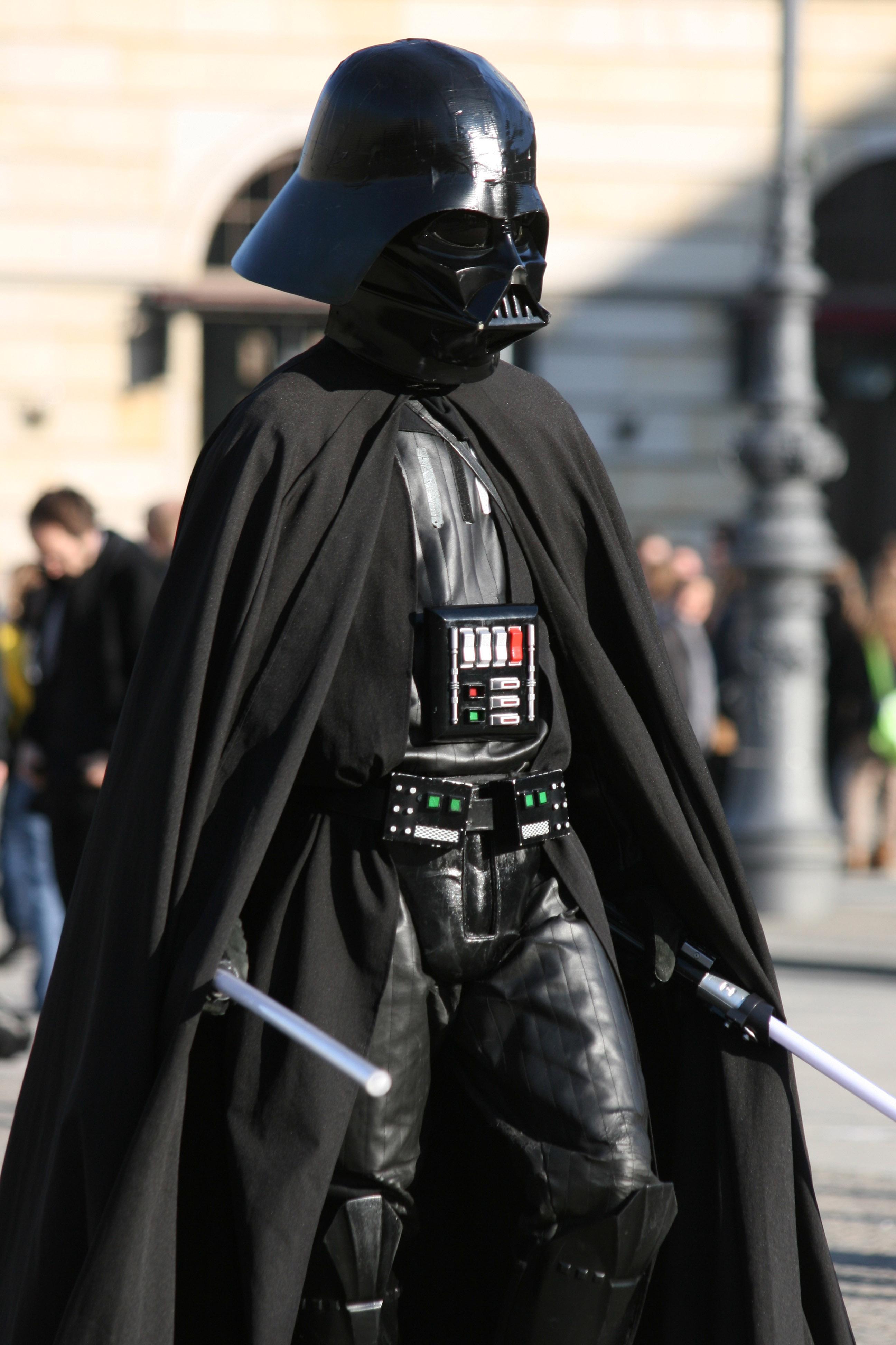 A street performer dressed as Darth Vader in front of the Brandbenburg Gate (Brandenburger Tor) on Pariser Platz in Berlin