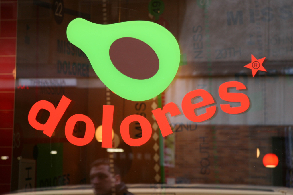 The logo on the window of Dolores in Berlin Mitte