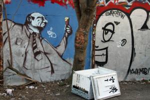 Fat Man With An Ice Cream: Street Art by Unknown Artist in Berlin