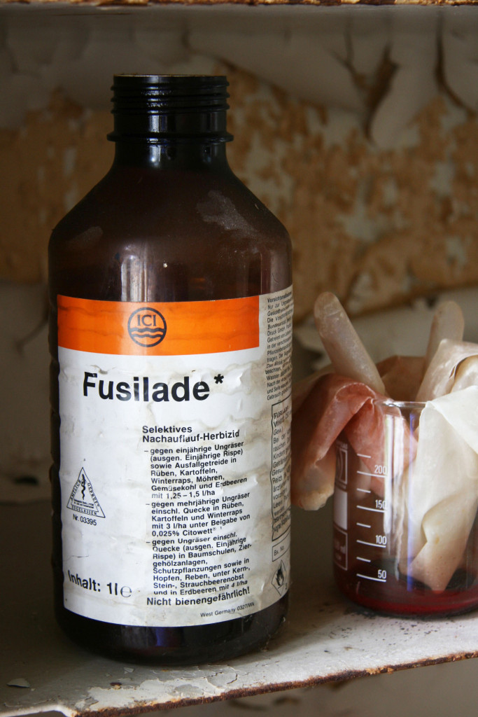 A bottle of Fusilade, a herbicide, in a medicine cabinet, at Sanatorium E near Potsdam