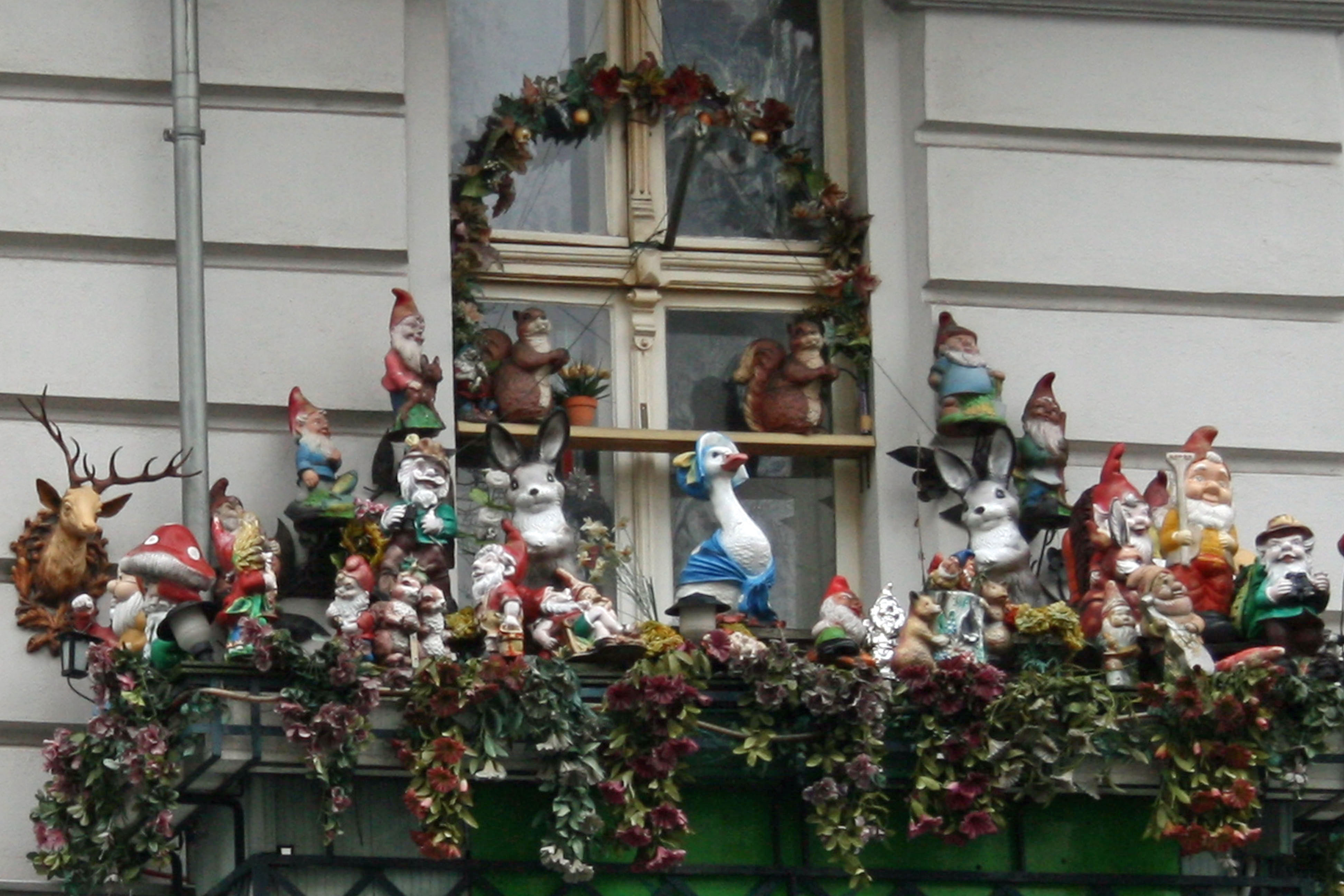 A balcony full of Gnomes in Prenzlauer Berg in Berlin