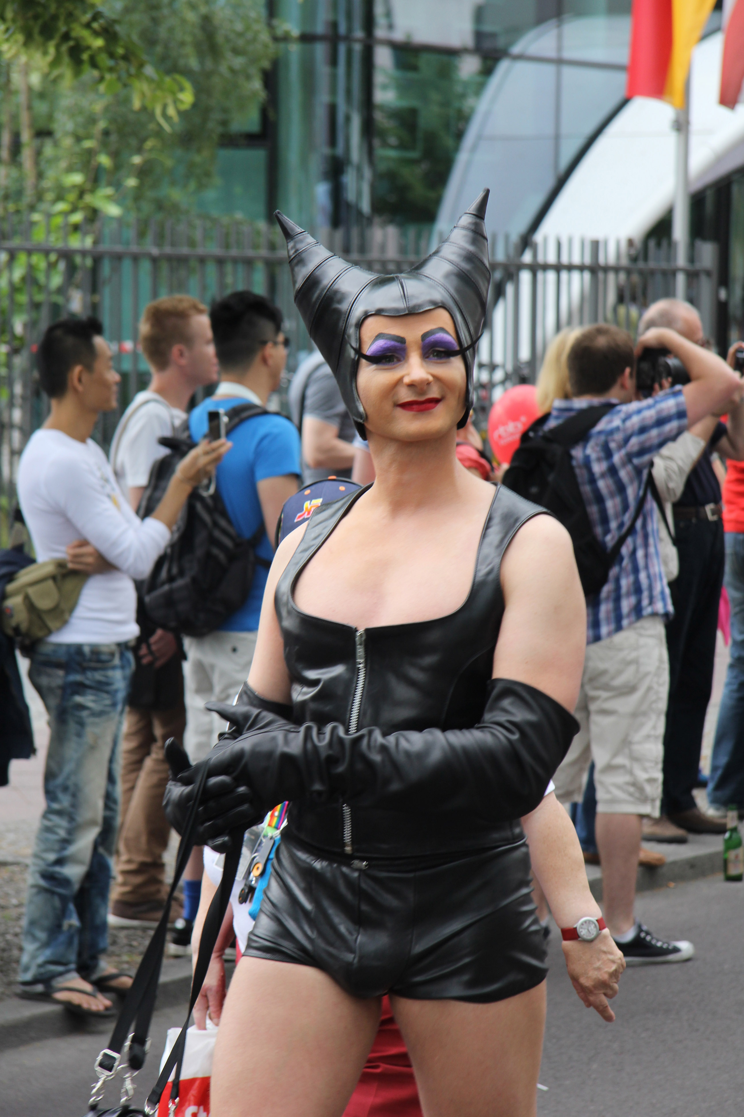 Horny: A reveller at the Christopher Street Day (CSD) Parade in Berlin