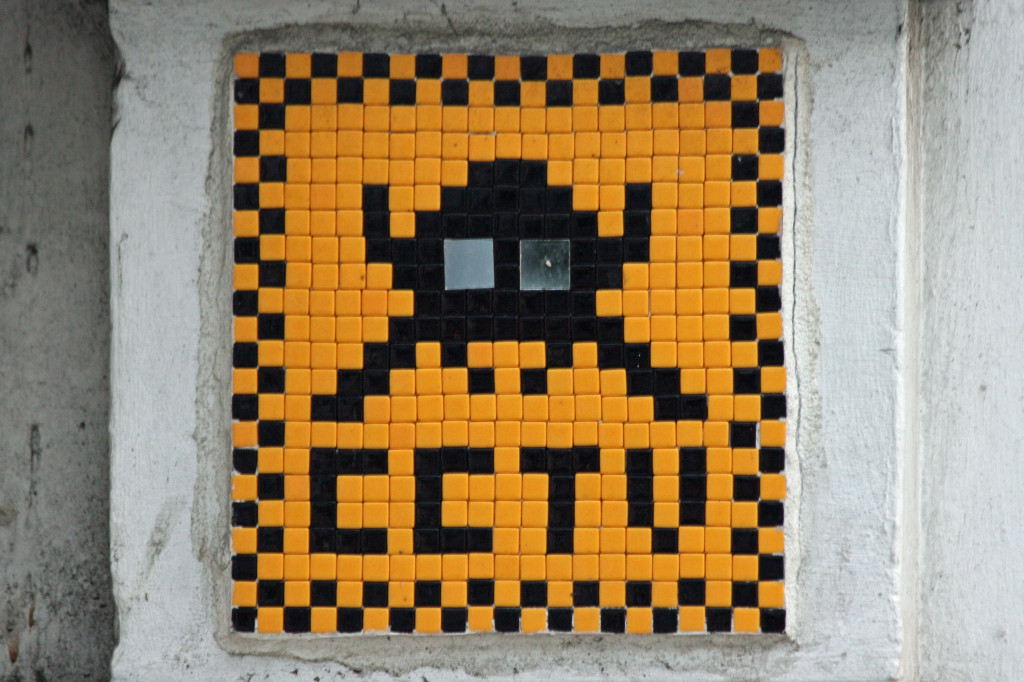 Invader 1: Tile Mosaic Space Invader 'CCTV' Street Art in London