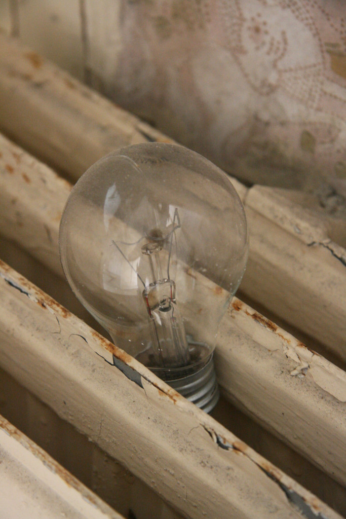 Light and Heat - a discarded light bulb on a radiator at Sanatorium E near Potsdam