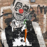 Clown & Carrot: Street Art by Mimi The Clown in Berlin