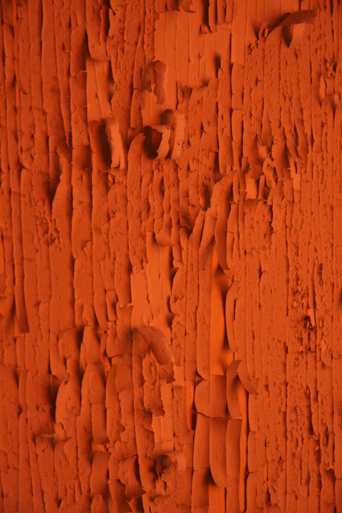 Peeling paint in an orange glow at Sanatorium E near Potsdam