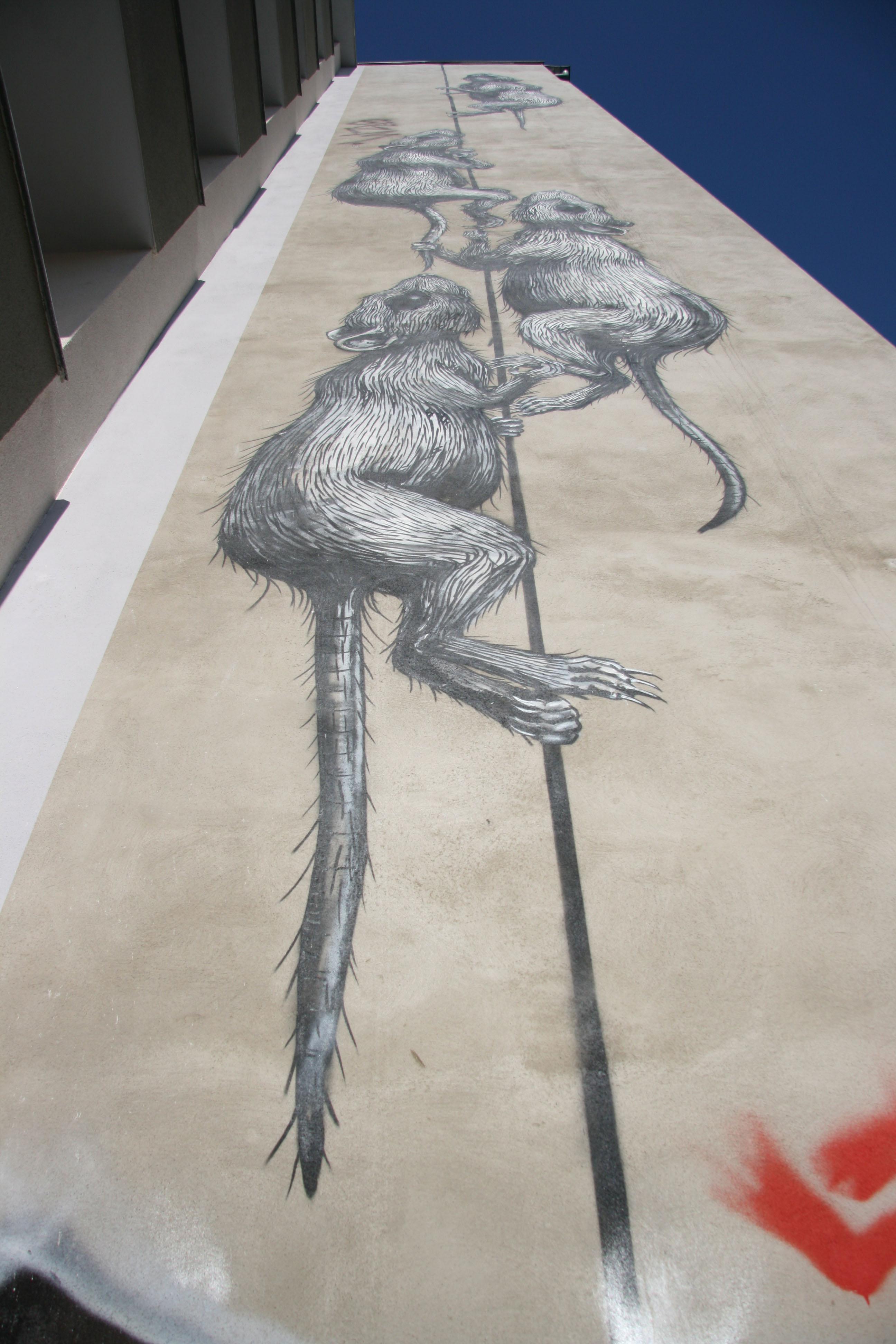 Rats: Street Art by ROA in Berlin's Prenzlauer Berg seen from below