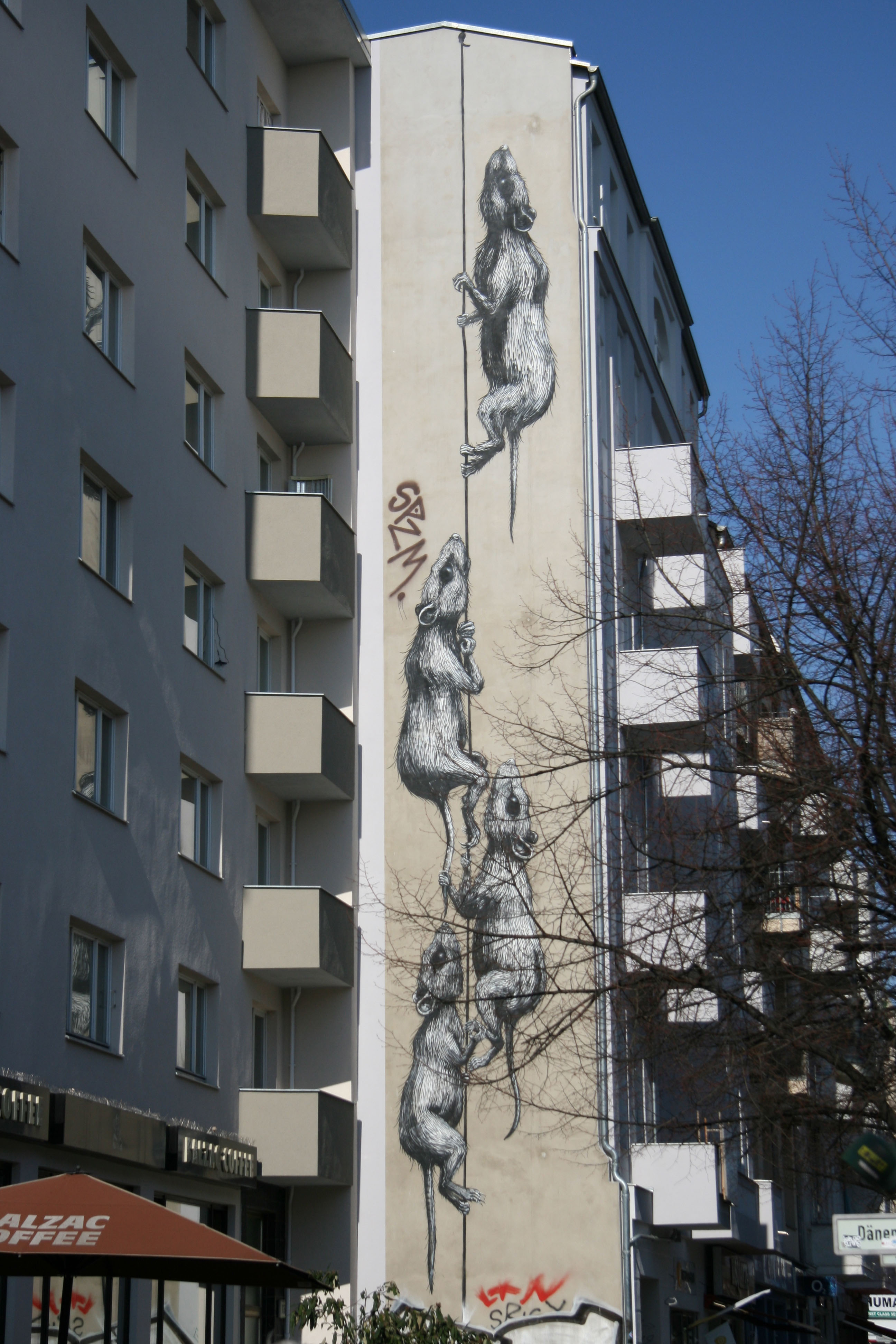 Rats: Street Art by ROA on the side of a building in Berlin's Prenzlauer Berg