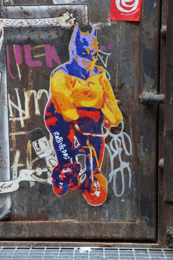 Batman On A Bike: Street Art by Robi The Dog in Berlin