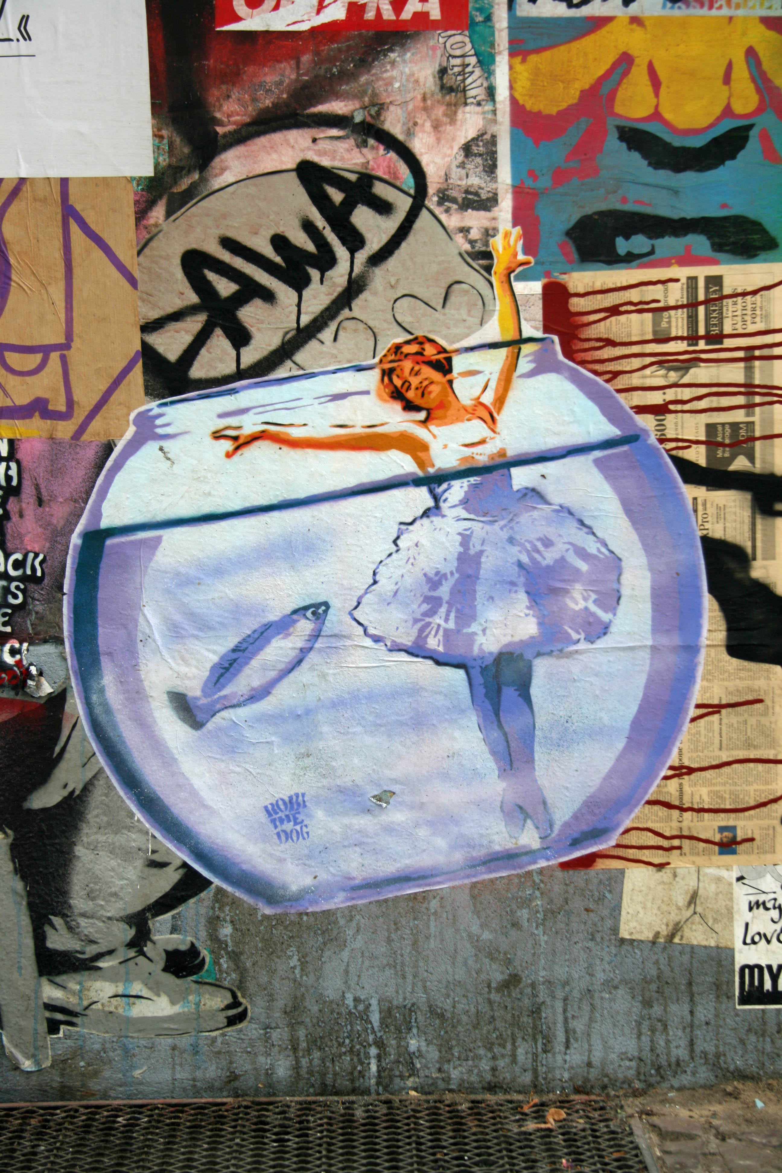 A Dancer in a Goldfish Bowl: Street Art by Robi The Dog in Berlin