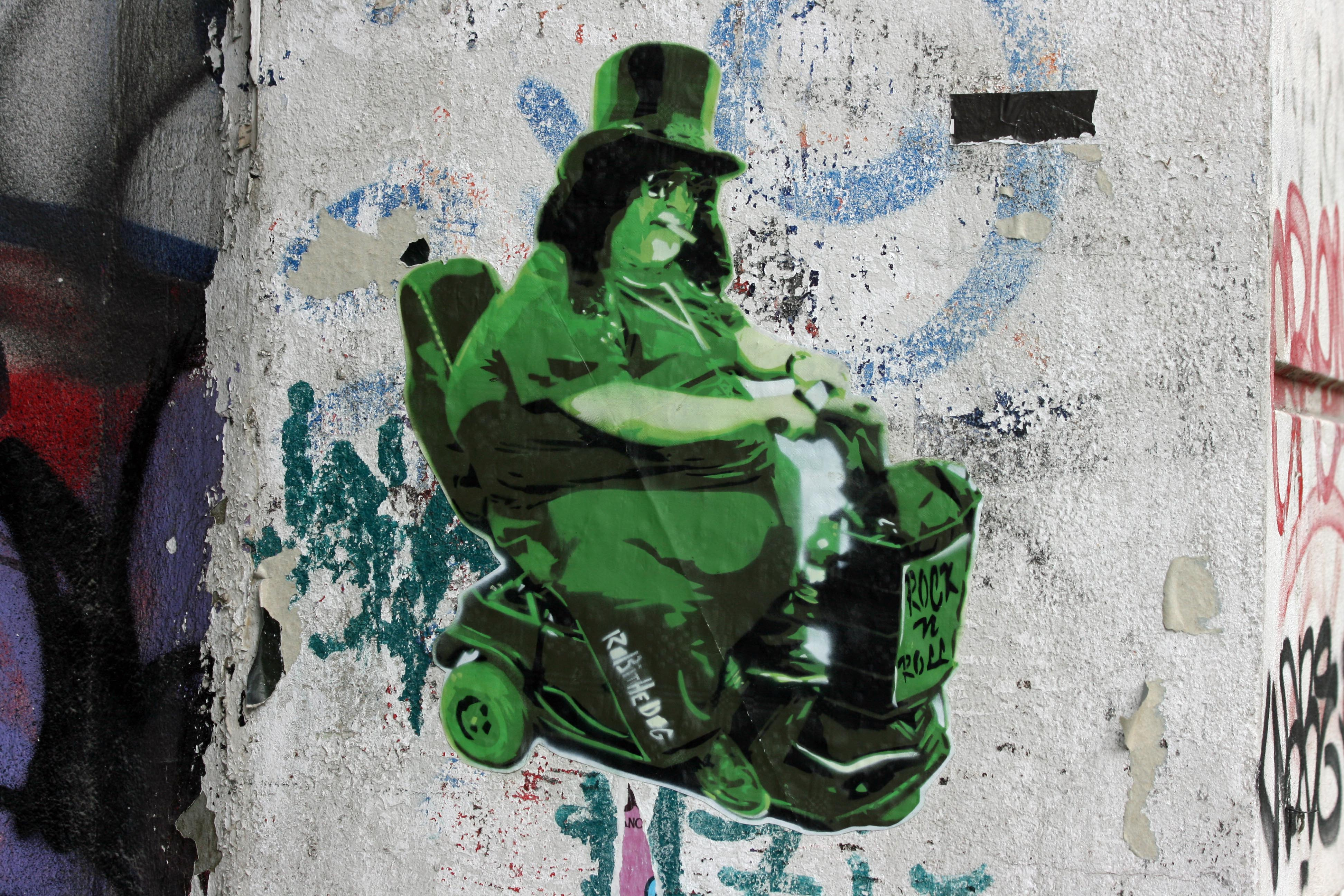 Rock 'n' Roll Mobility Scooter: Street Art by Robi The Dog in Berlin