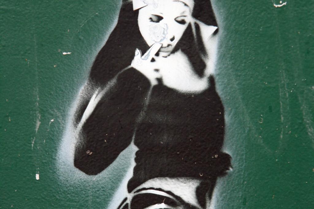 Sexy Nun: Street Art by Unknown Artist in Berlin