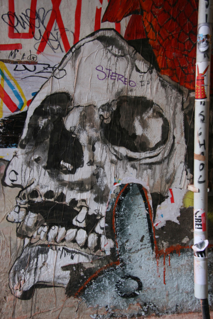 Skull: Street Art by Unknown Artist in Berlin in the street art courtyard at Rosenthaler Straße 39 in Berlin Mitte