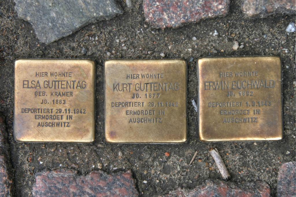 Stolpersteine 102: In memory of Elsa Guttentag, Kurt Guttentag and Erwin Buchwald (Torstrasse 126) in Berlin