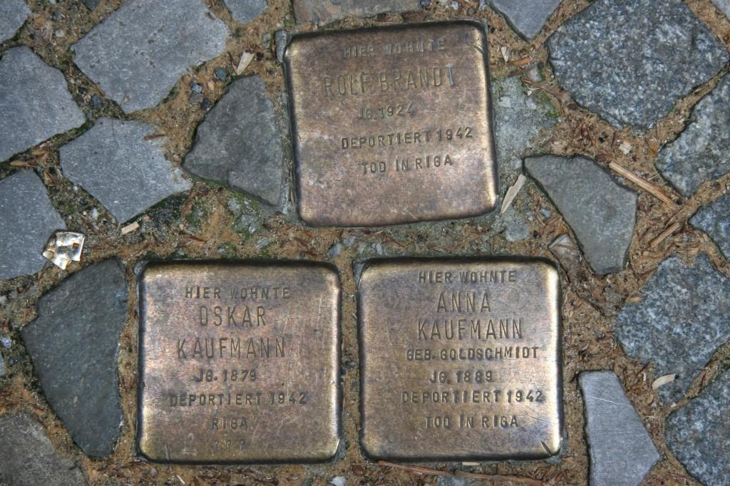 Stolpersteine 103a: In memory of Rolf Brandt, Oskar Kaufmann and Anna Kaufmann (Dieffenbachstrasse 45) in Berlin