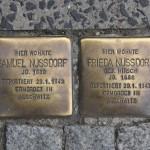 Stolpersteine 109: Samuel Nussdorf and Frieda Nussdorf (Otto-Braun-Strasse 90 – outside Leonardo Royal Hotel) in Berlin