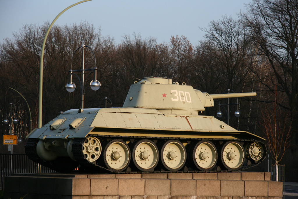 A tank at the Soviet War Memorial on Strasse des 17 Juni in the Tiergarten in Berlin