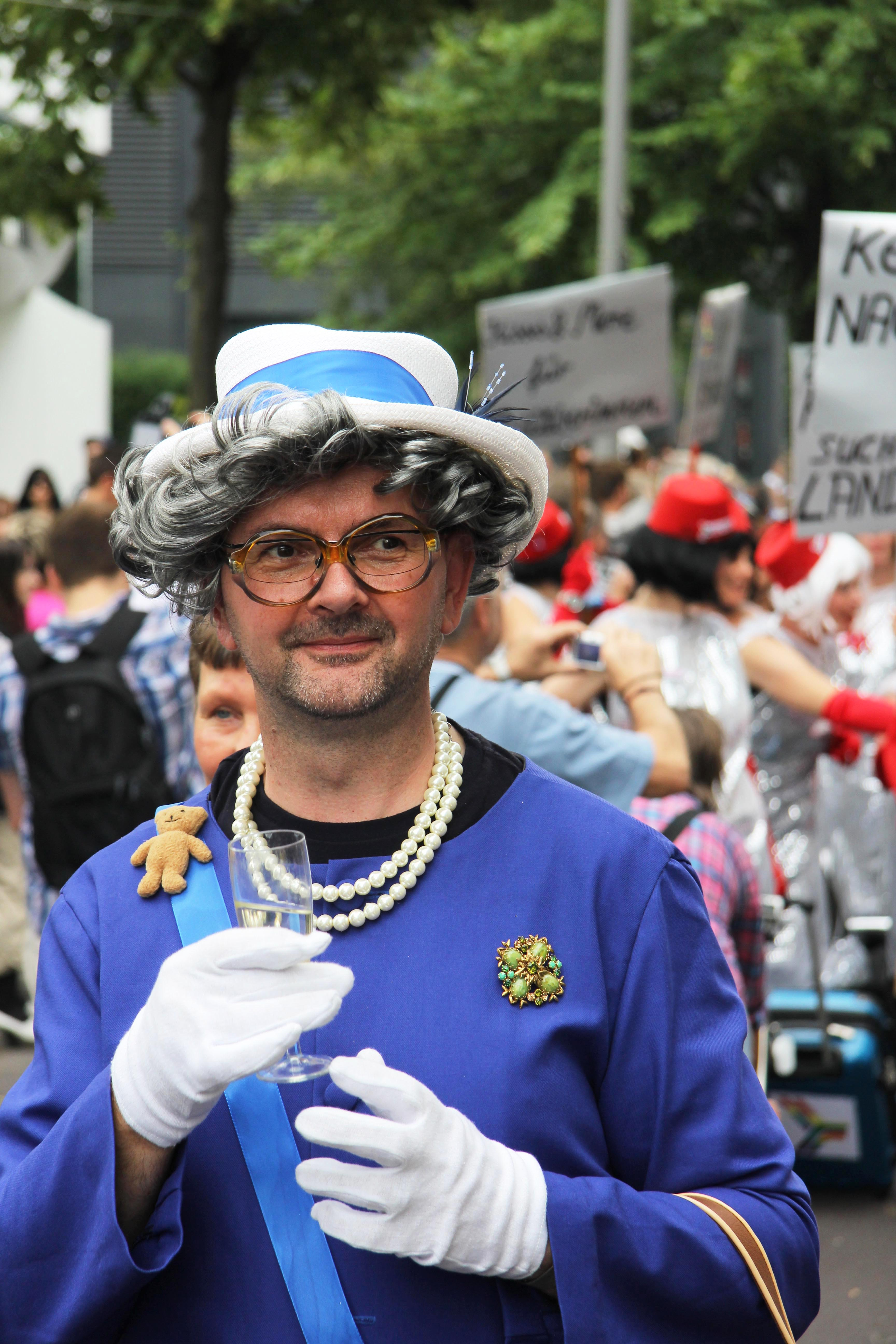 The Queen: A reveller at the Christopher Street Day (CSD) Parade in Berlin