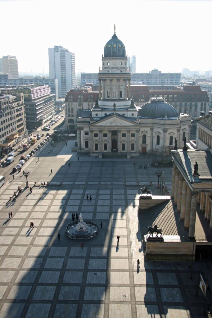 The view across the Gendarmenmarkt from the Französischer Dom (French Cathedral) to the Deutscher Dom (German Cathedral) in Berlin